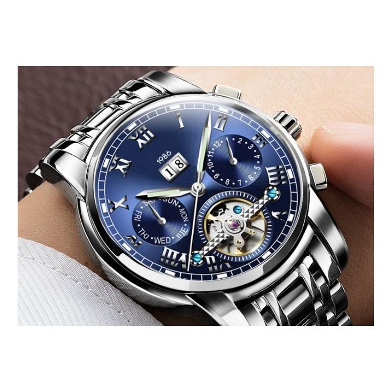 Modré mechanické hodinky Romulus e66ecf779b9